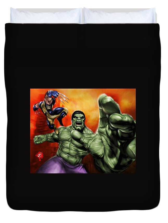 Hulk Duvet Cover featuring the painting Hulk by Pete Tapang