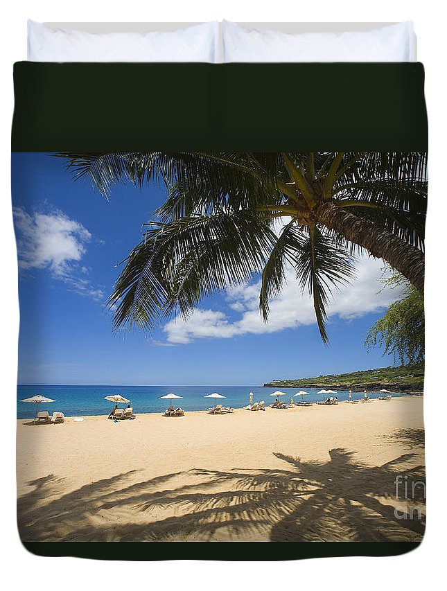 Beach Duvet Cover featuring the photograph Hulopoe Beach Palm Tree by Ron Dahlquist - Printscapes