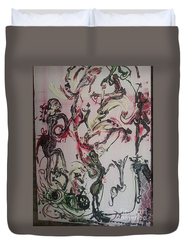 Human Activities . Abstract Duvet Cover featuring the painting Human Activity by Antonia Wilson
