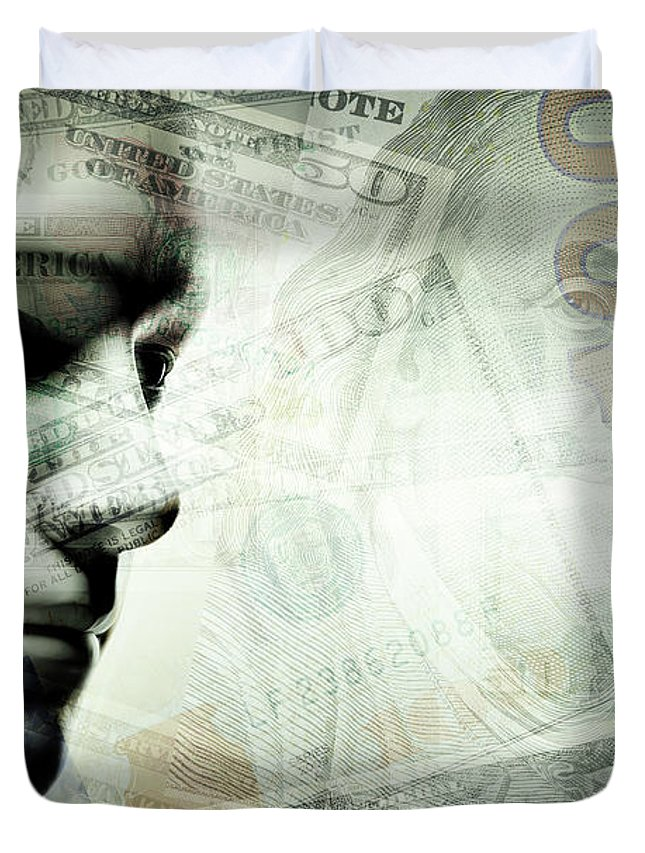 Face Duvet Cover featuring the photograph Human Man Face And Dollars Double Exposure. by Michal Bednarek