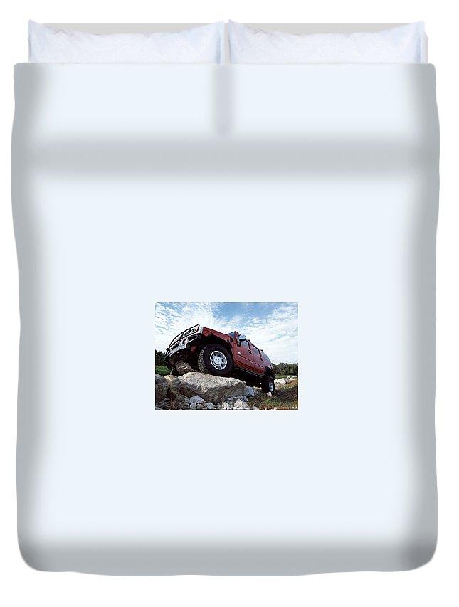 Hummer Duvet Cover featuring the digital art Hummer by Dorothy Binder