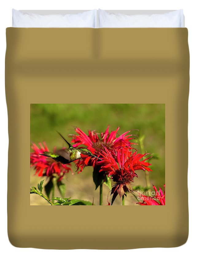 Hummer In The Bee Balm Duvet Cover featuring the photograph Hummer In The Bee Balm by Teresa A and Preston S Cole Photography