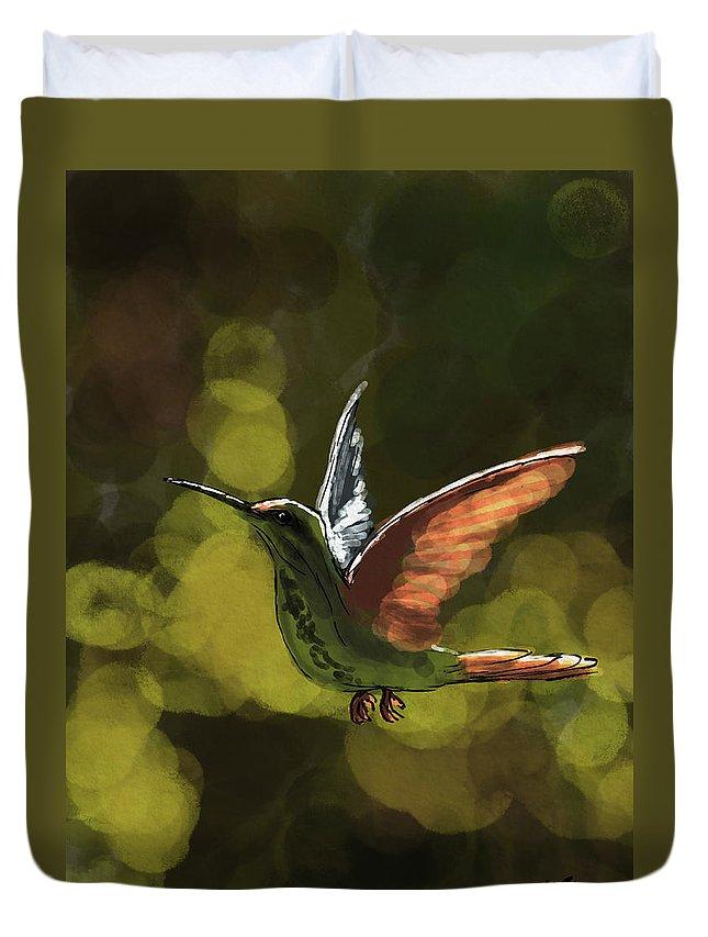 Birds Duvet Cover featuring the digital art Hummer by Michael Kallstrom
