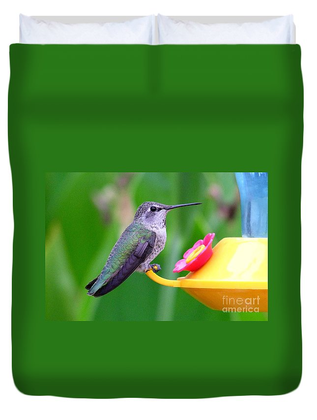 Green Duvet Cover featuring the photograph Hummingbird 32 by Mary Deal