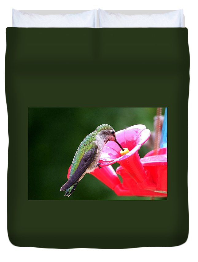 Red Duvet Cover featuring the photograph Hummingbird 33 by Mary Deal