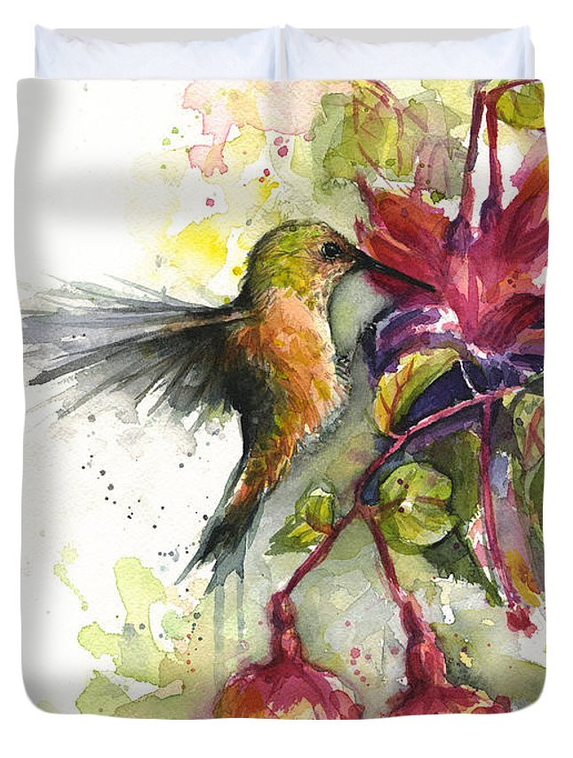 Hummingbird Duvet Cover featuring the painting Hummingbird and Fuchsia by Olga Shvartsur