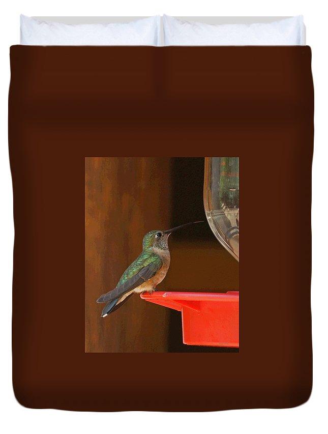 Hummingbird Duvet Cover featuring the photograph Hummingbird De by Ernie Echols