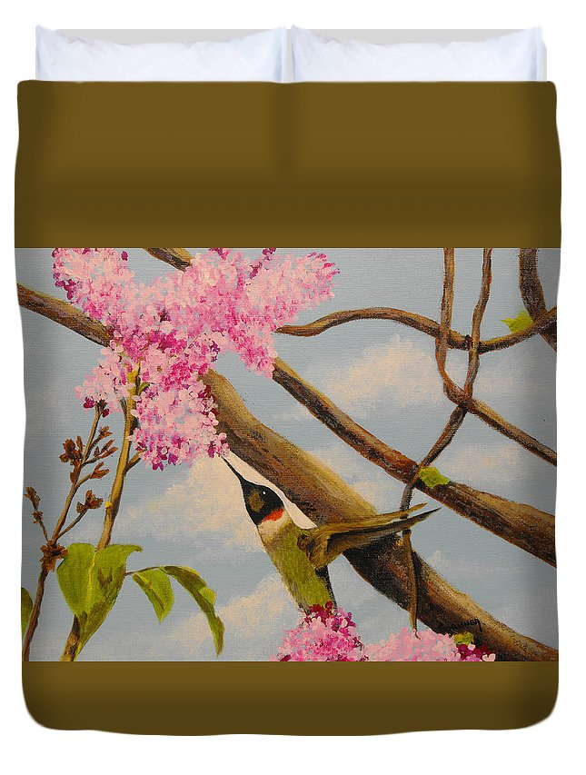 Nature Duvet Cover featuring the painting Hummingbird Feeding On Lilac by Susan Bruner