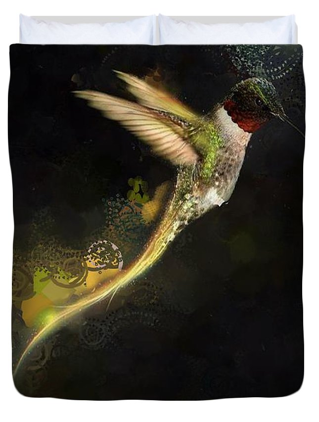 Hummingbird Hotty Totty Style Duvet Cover featuring the digital art Hummingbird Hotty Totty Style by Catherine Lott