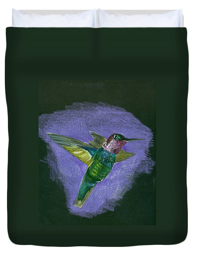Bird Duvet Cover featuring the drawing Hummingbird by Mary Tuomi