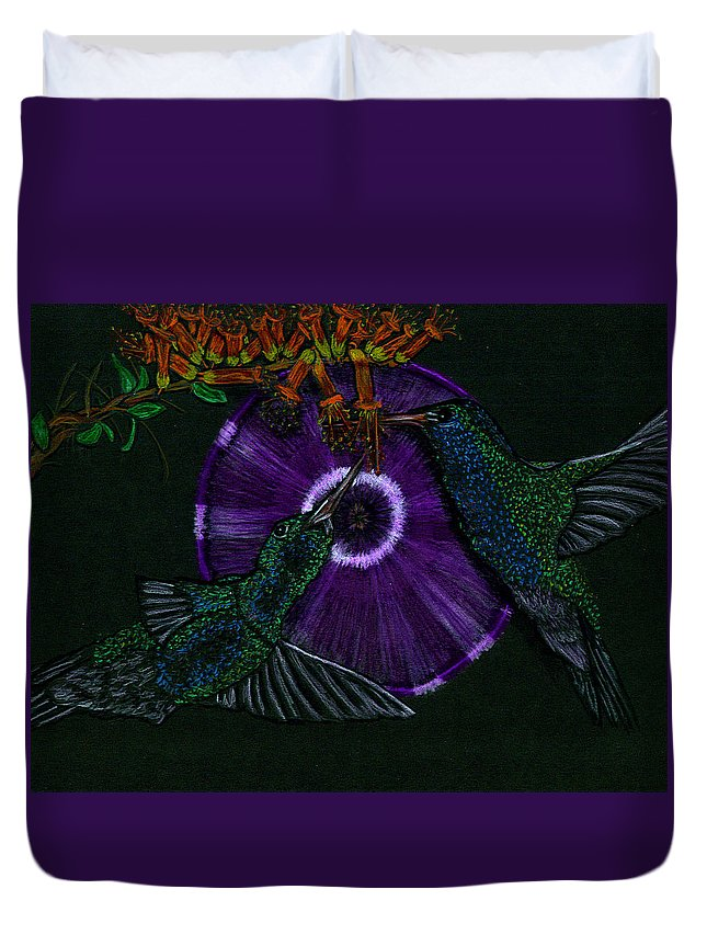 Humming Bird Duvet Cover featuring the drawing Hummingbird Morning Glory by Michelle Audas