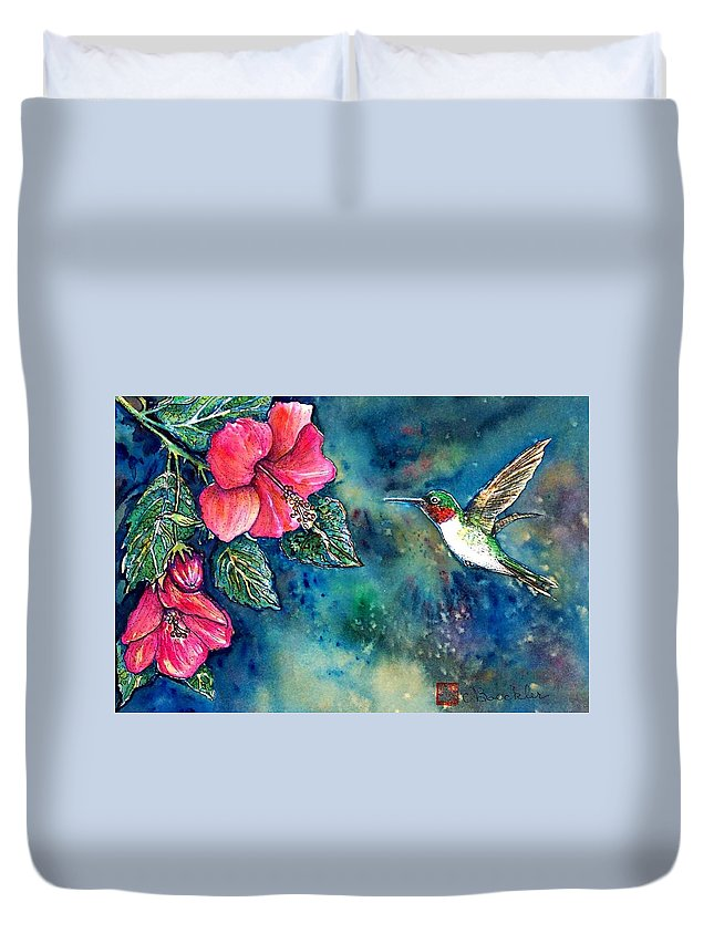 Birds Duvet Cover featuring the painting Hummingbird by Norma Boeckler