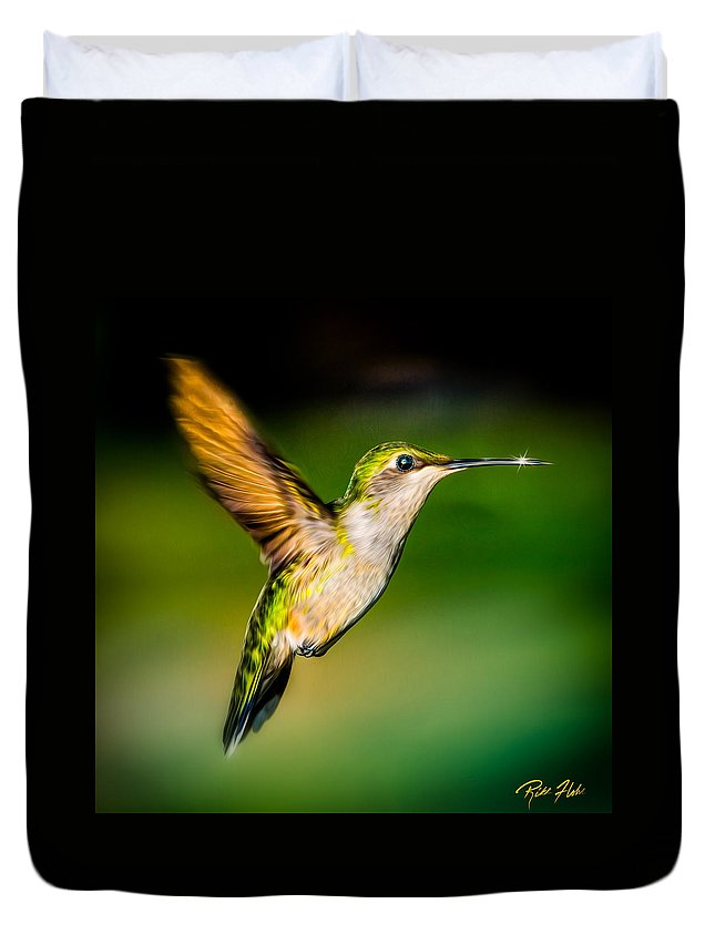 Animals Duvet Cover featuring the photograph Hummingbird Sparkle by Rikk Flohr