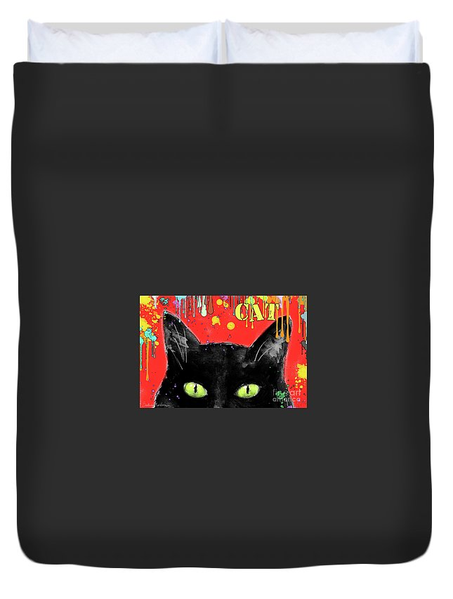 Black Cat Painting Duvet Cover featuring the painting humorous Black cat painting by Svetlana Novikova