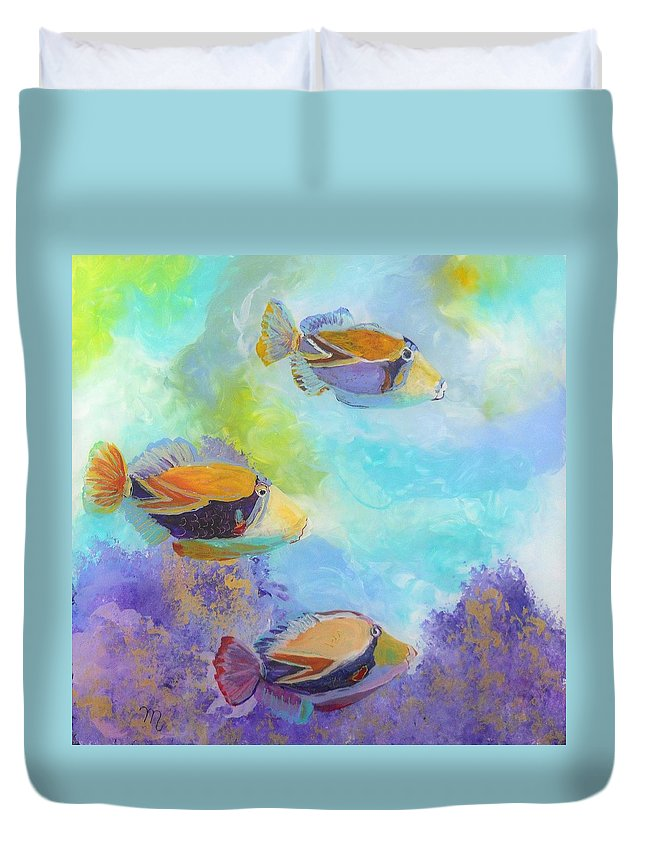 Humuhumu Duvet Cover featuring the painting Humuhumu 6 by Marionette Taboniar