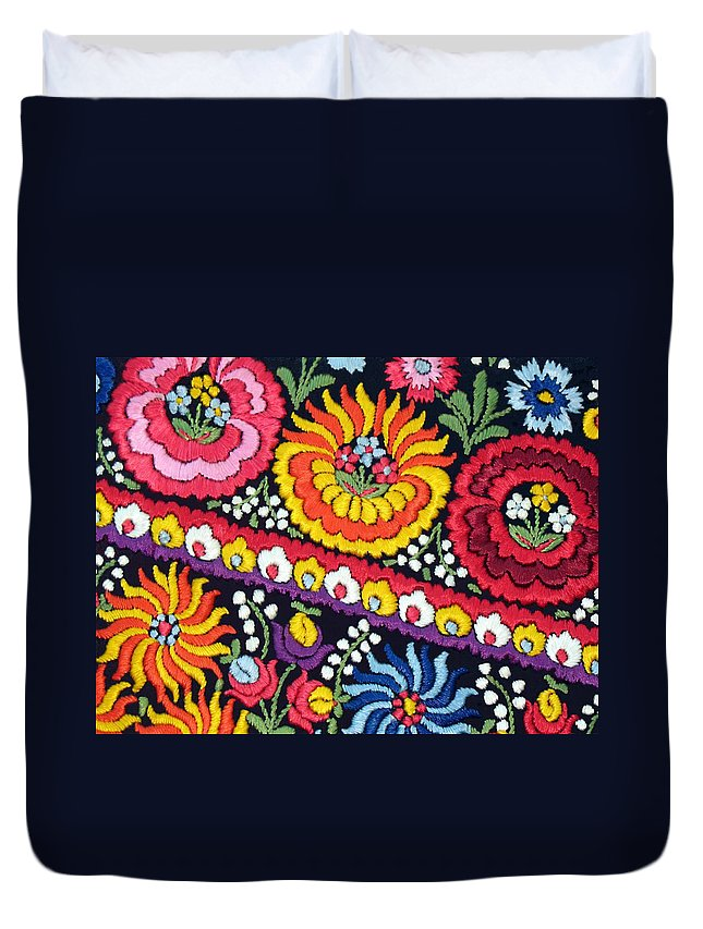 Matyo Duvet Cover featuring the photograph Hungarian Matyo Szentgyorgy Folk Embroidery Photographic Print by Andrea Lazar