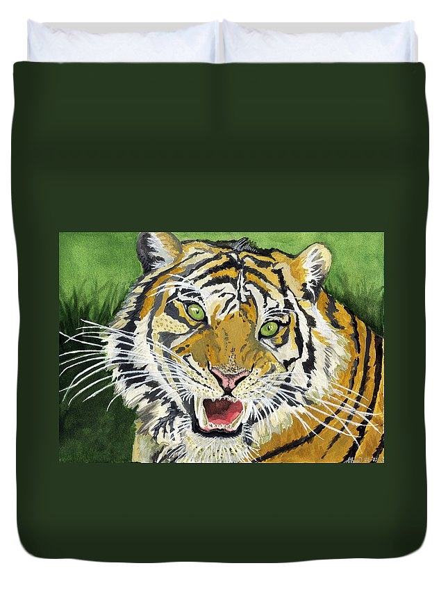 Tiger Duvet Cover featuring the painting Hungry Tiger by Alban Dizdari