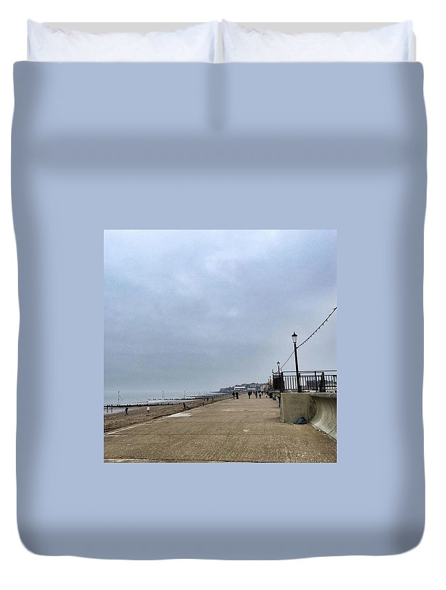 Beautiful Duvet Cover featuring the photograph Hunstanton At 4pm Yesterday As The by John Edwards