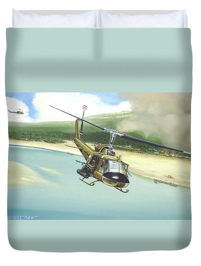 Military Duvet Cover featuring the painting Hunter Hueys by Marc Stewart
