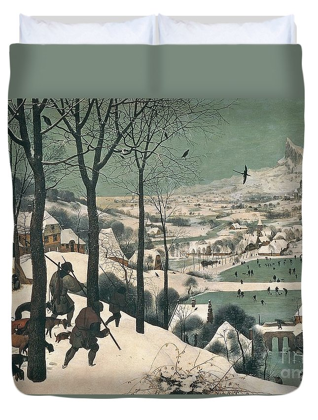 Hunters Duvet Cover featuring the painting Hunters In The Snow by Pieter the Elder Bruegel