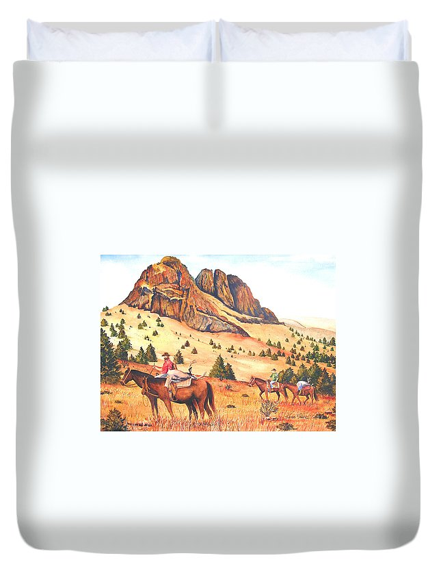 Landscape Duvet Cover featuring the painting Hunting at Jenny's Peak by Karen Stark