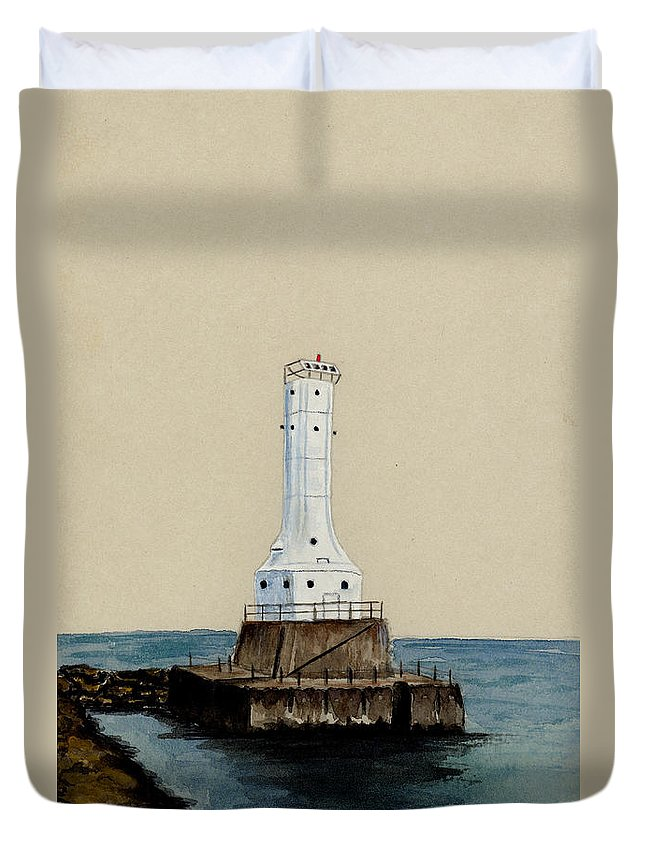 Lighthouse Duvet Cover featuring the painting Huron Harbor Lighthouse by Michael Vigliotti