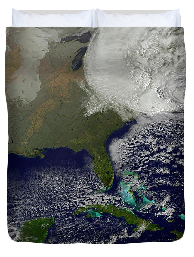 Photography Duvet Cover featuring the photograph Hurricane Sandy Battering The United by Stocktrek Images
