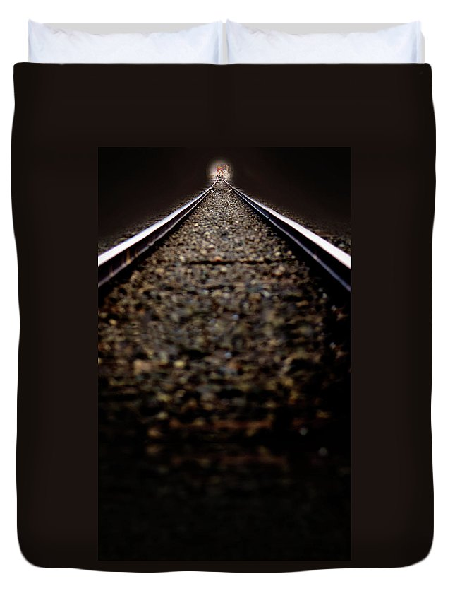 Train Duvet Cover featuring the photograph Hurtling Toward Me by Lisa Knechtel