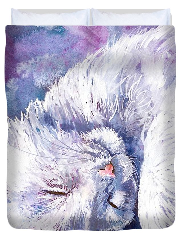 Cat Duvet Cover featuring the mixed media Hushabye Kitten by Sherry Shipley