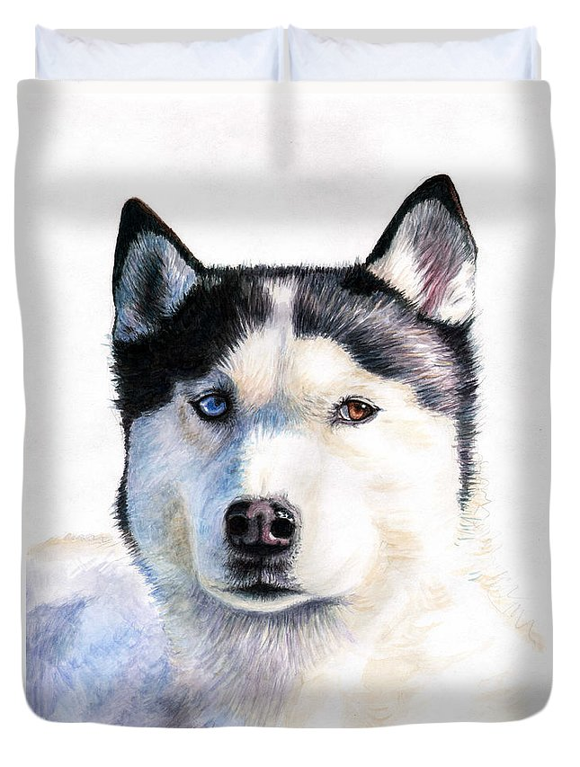 Dog Duvet Cover featuring the painting Husky Blue by Nicole Zeug