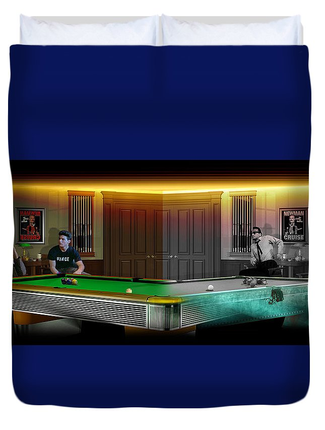 Pool Duvet Cover featuring the digital art Hustlers Of Color by Draw Shots