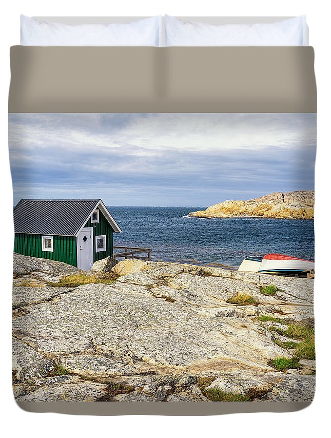 Sm�gen Duvet Cover featuring the photograph Hut On The Rocks by James Billings