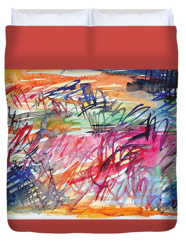Jazzy Duvet Cover featuring the painting Huxtables by Bob Usoroh