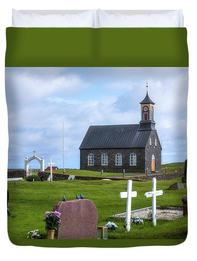 Hvalsneskirkja Duvet Cover featuring the photograph Hvalsneskirkja - Iceland by Joana Kruse