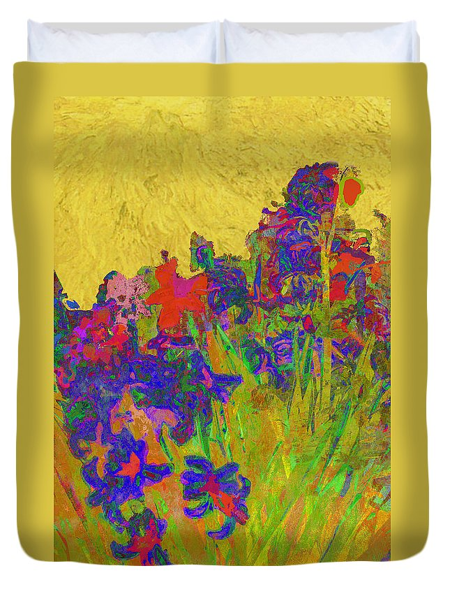 Hyacinths Duvet Cover featuring the photograph Hyacinths In The Style Of Van Gogh by Suzanne Powers