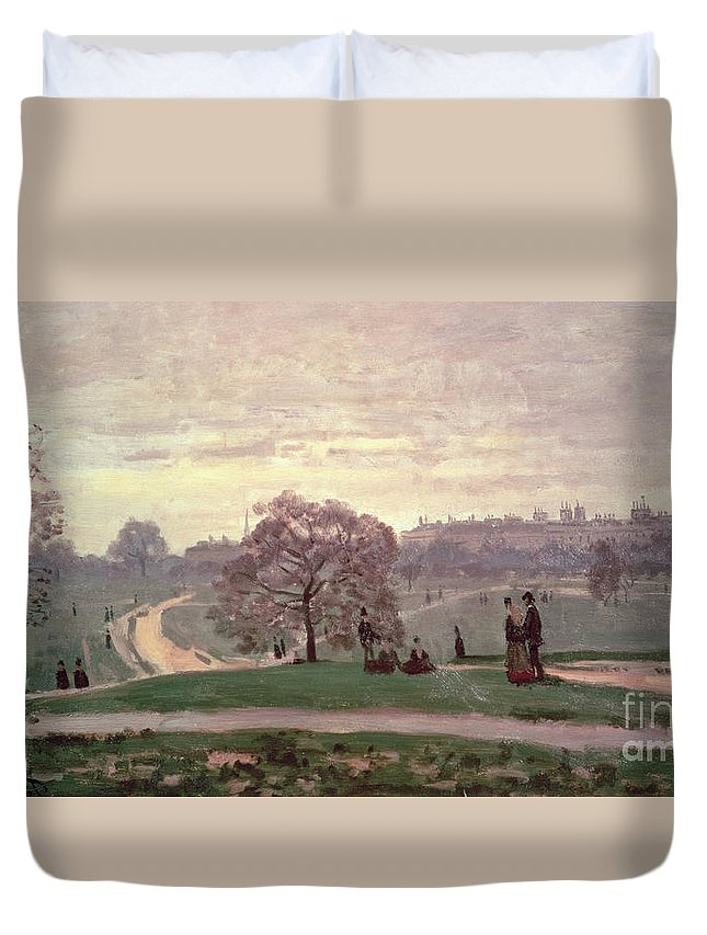 Hyde Park By Claude Monet (1840-1926) Duvet Cover featuring the painting Hyde Park by Claude Monet