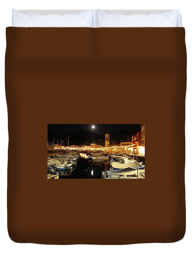 Greece Duvet Cover featuring the photograph Hydra Island By Night by Aleks Findikian
