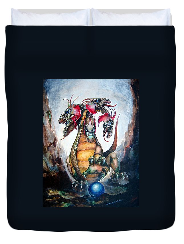 Hydra Duvet Cover featuring the painting Hydra by Leyla Munteanu