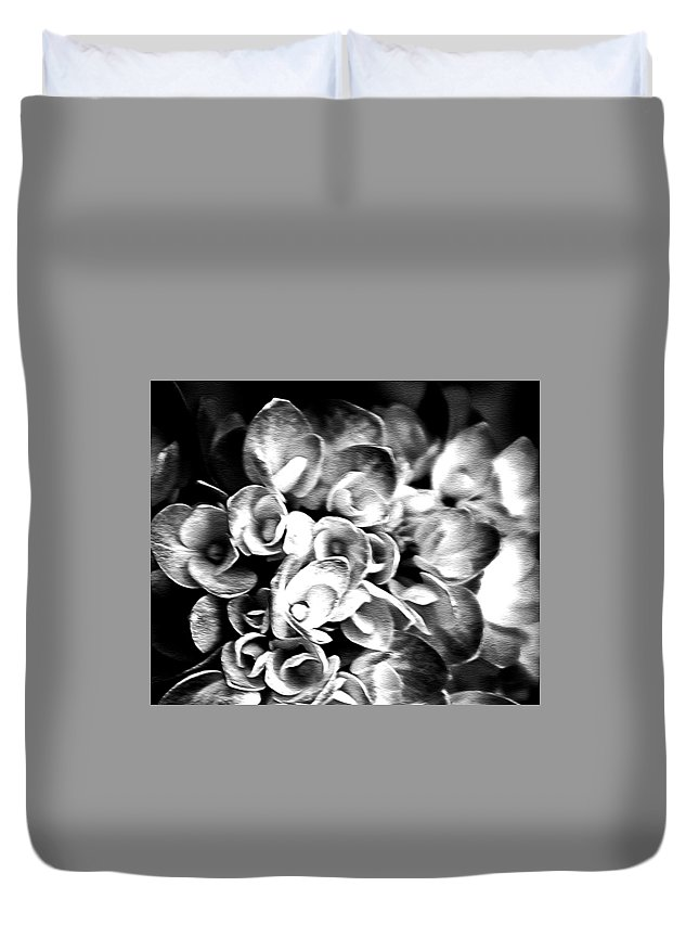 Flowers Duvet Cover featuring the photograph Hydrangas Bw by Charlotte Johnson