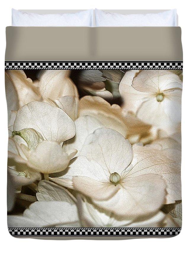 Hydrangea Duvet Cover featuring the photograph Hydrangea Blossom Framed by Andrea Lazar