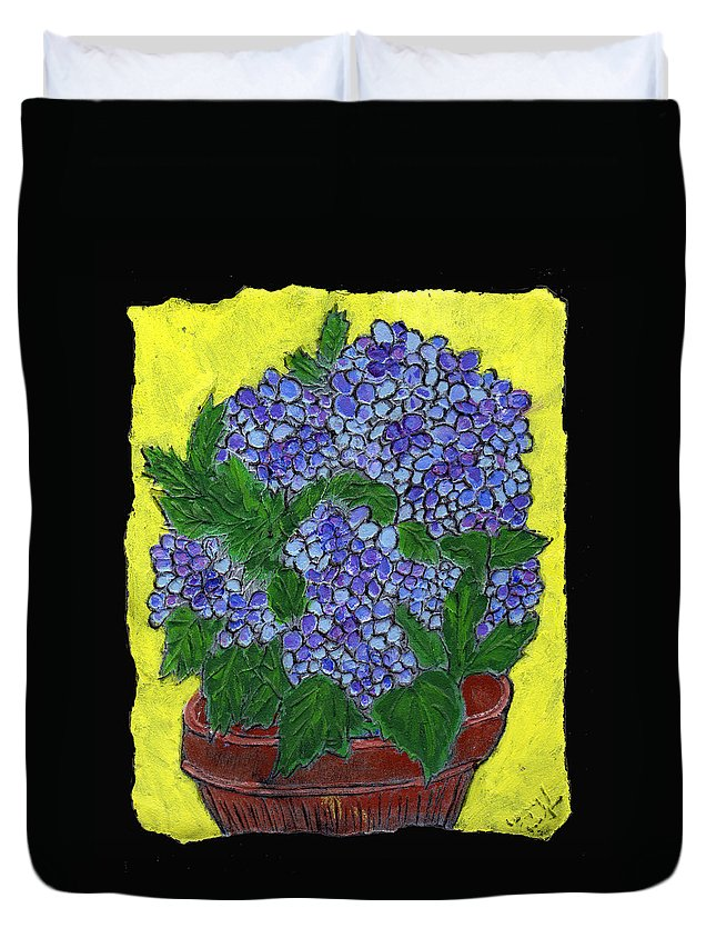 Flower Duvet Cover featuring the painting Hydrangea In A Pot by Wayne Potrafka