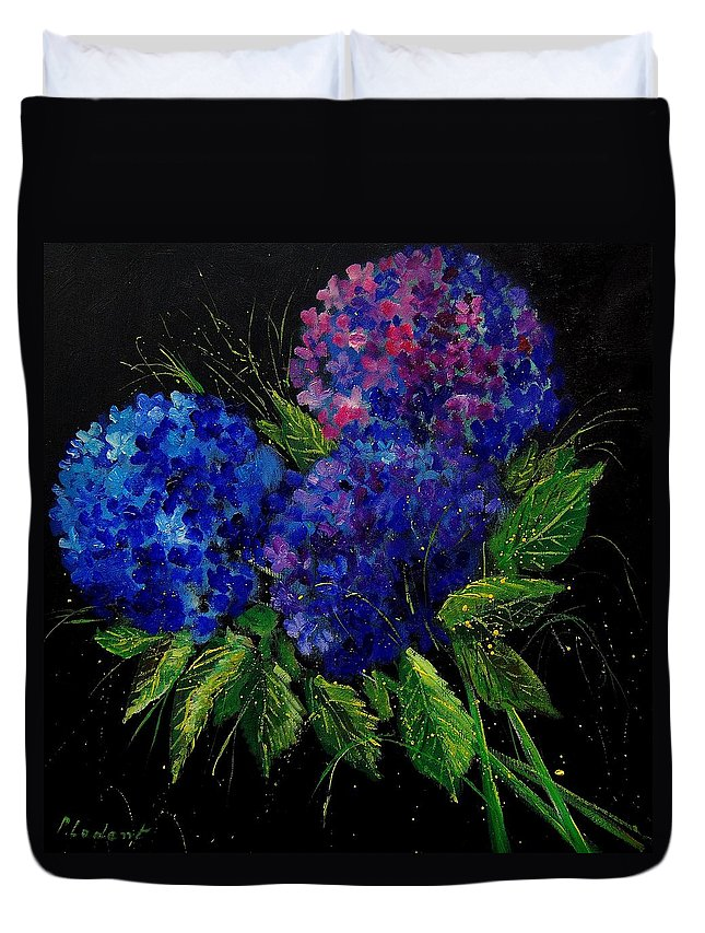 Flowers Duvet Cover featuring the painting Hydrangeas 66 by Pol Ledent