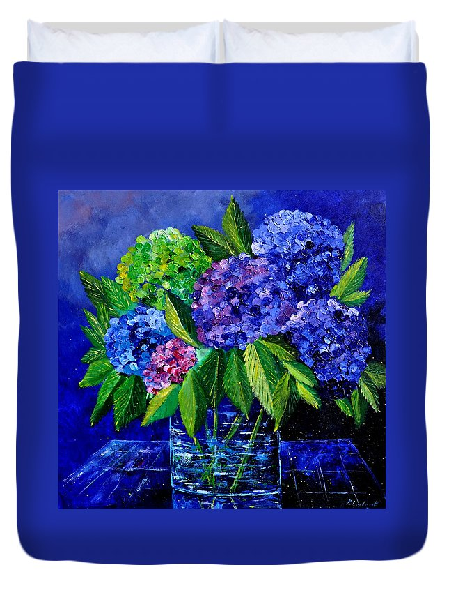 Flowers Duvet Cover featuring the painting Hydrangeas 88 by Pol Ledent
