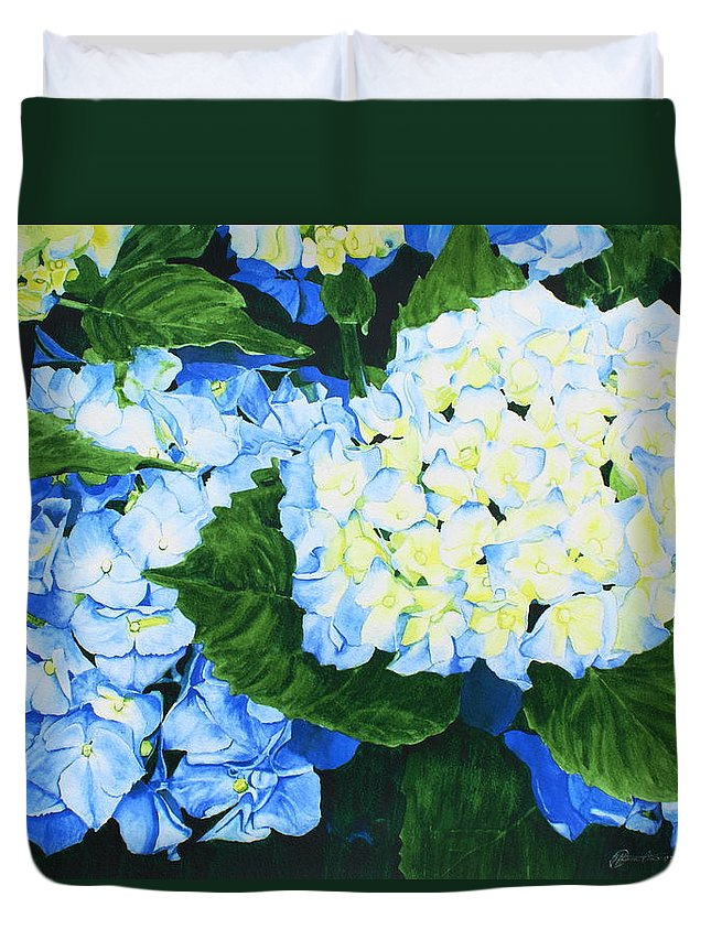 Hydrangeas Duvet Cover featuring the painting Hydrangeas by Frank Hamilton