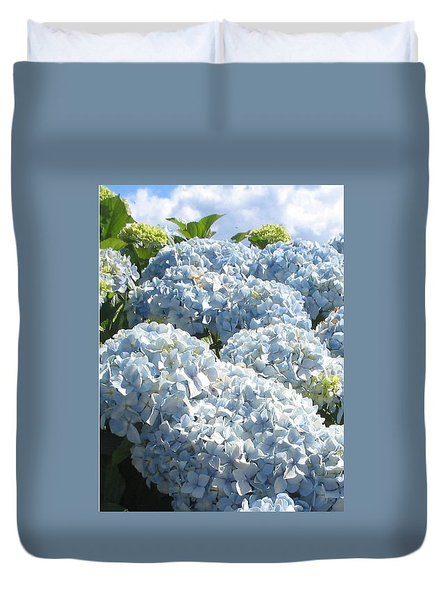 Blue Hydrangea Duvet Cover featuring the photograph Hydrangeas by Valerie Josi