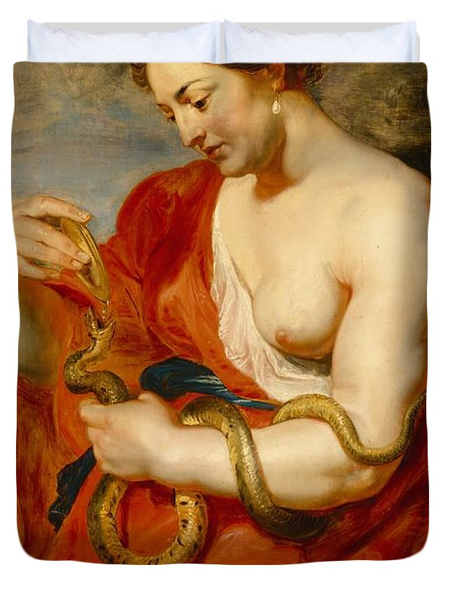 Hygeia Duvet Cover featuring the painting Hygeia - Goddess Of Health by Peter Paul Rubens
