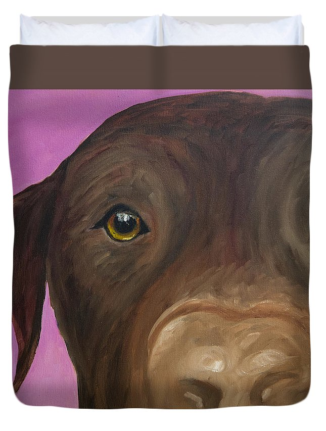 Chocolate Lab Duvet Cover featuring the painting I Am Being Really Good by Roger Wedegis