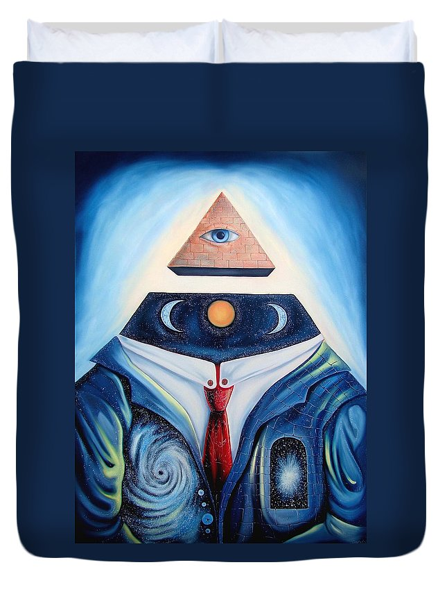 Surrealism Duvet Cover featuring the painting I Am by Darwin Leon
