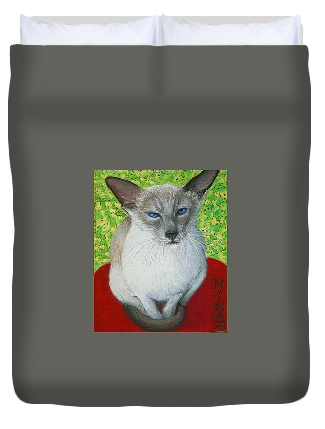 Siamese Duvet Cover featuring the painting I Am Siamese If You Please by Minaz Jantz