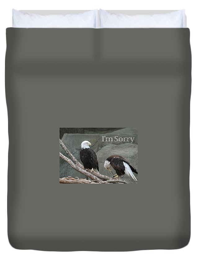 Greeting Duvet Cover featuring the photograph I Am Sorry by Michael Peychich
